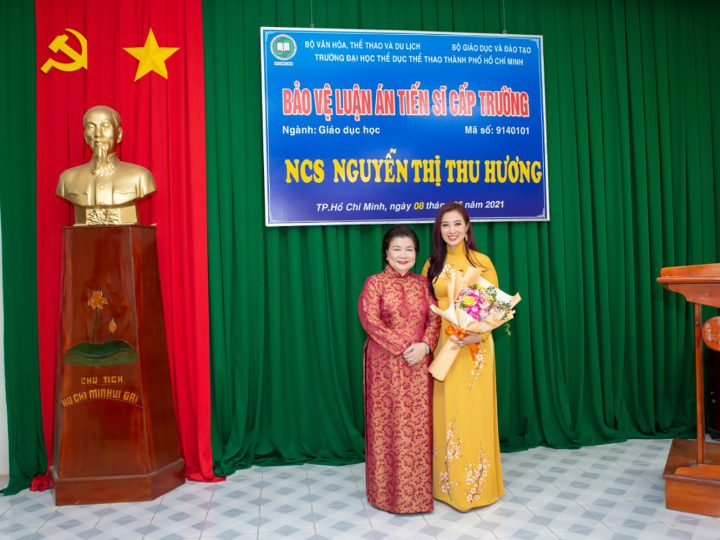 TS Lý Thị Mai chúc mừng Á hậu quý bà thế giới Nguyễn Thu Hương bảo vệ thành công luật án