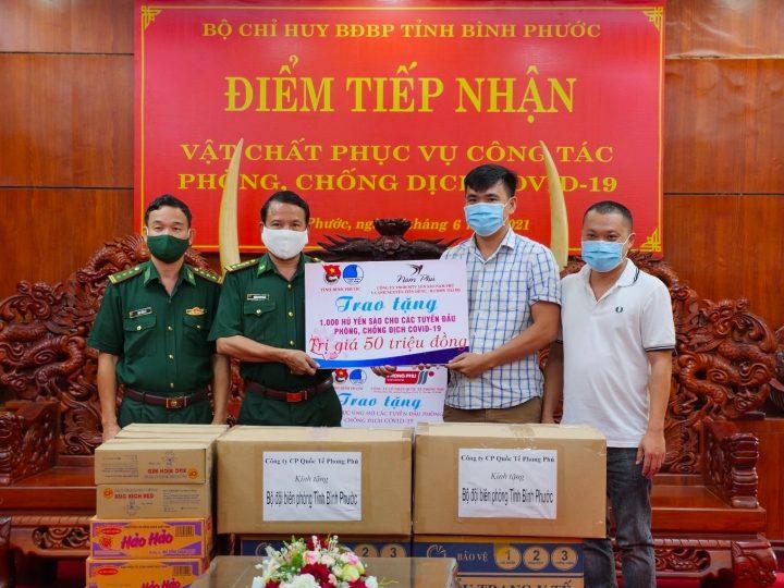 Thanh niên Bình Phước vận động nhu yếu phẩm, quà trị giá 235 triệu đồng để hỗ trợ lực lượng vũ trang ở tuyến đầu ngăn Covid-19